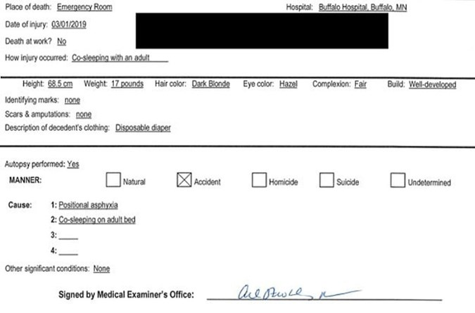 Midwest Medical Examiner's Office report.