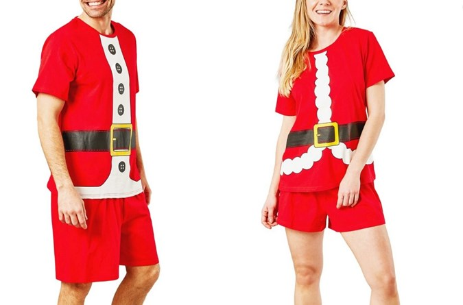 Mens and womens matching Santa pj's. Image: Big W