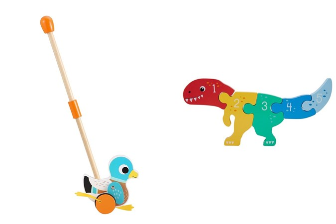 Push Along Duck With Flappy Feet and 1-5 Dino Puzzle. Image: Kmart