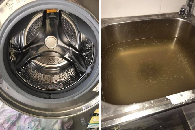 Amazing results shown using the dishwashing tablet hack. Image: Mums who clean/Facebook