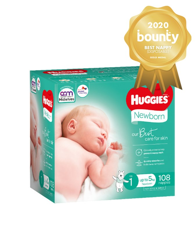 Huggies Newborn Nappies took out Best Disposable Nappy in the popular awards (Image: Bounty Parents)